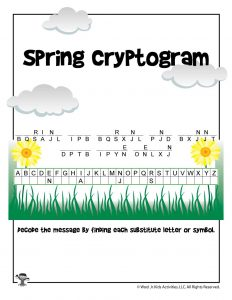 Spring Cryptogram Word Puzzle for Kids