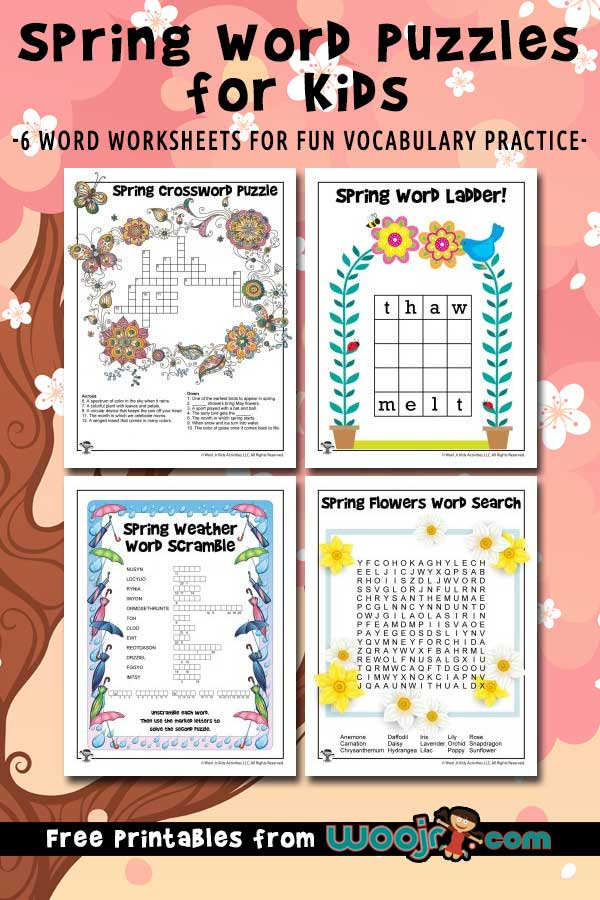 Spring Word Puzzles for Kids