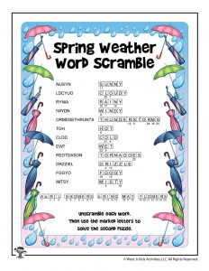 Spring Weather Word Scramble Puzzle - ANSWER KEY