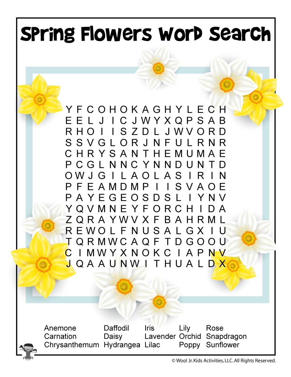 graphic regarding Free Printable Spring Word Search named Phrase Appear Spring Bouquets - Bouquets Wholesome
