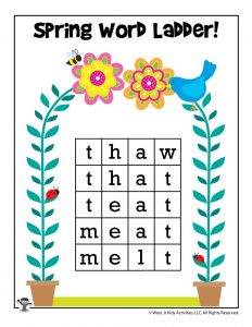 Spring Word Ladder Activity - ANSWER KEY