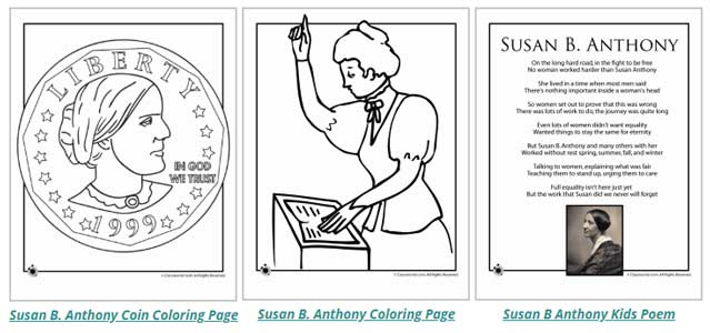 Susan B Anthony Printables from Woo! Jr. Kids Activities