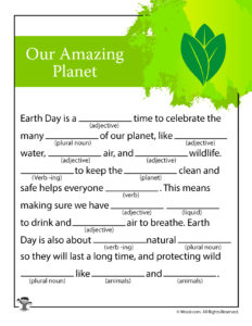 Our Amazing Planet Printable Ad Lib