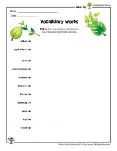 Arbor Day Vocabulary Word Worksheet