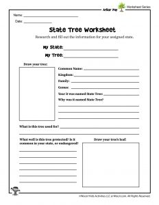Learn About Your State Tree Worksheet
