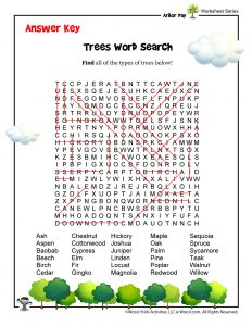 Arbor Day for Kids Word Search - ANSWER KEY