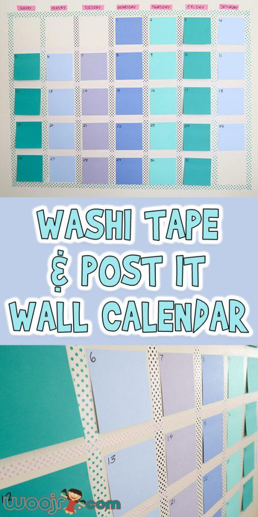 Washi Tape & Post It Wall Calendar