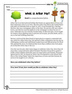 Arbor Day for Kids Reading Worksheet
