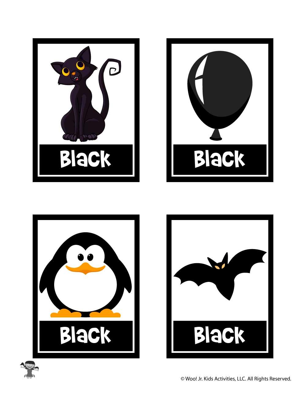 Black Color Flashcard Woo Jr Kids Activities