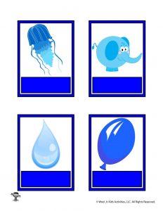 Printable Blue Color Flashcard No Words