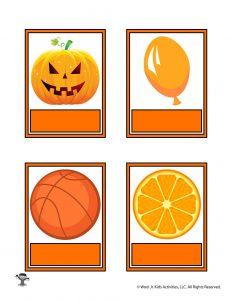 Printable Orange Color Flashcard No Words