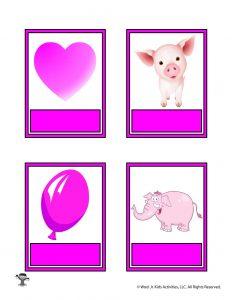 Printable Pink Color Flashcard No Words