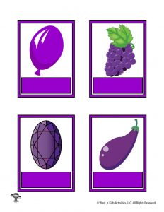 Printable Purple Color Flashcard No Words
