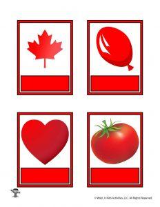 Printable Red Color Flashcard No Words