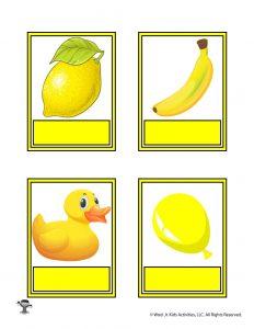 Printable Yellow Color Flashcard No Words