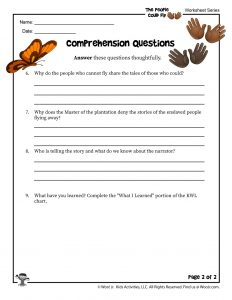 The People Could Fly Comprehension Questions Worksheet Part 2