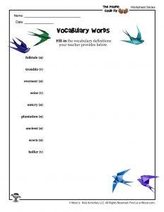 The People Could Fly Vocabulary Word List