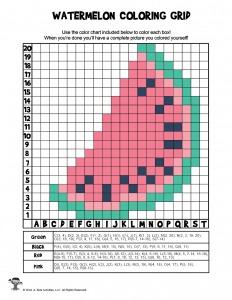 Summer Watermelon Grid Coloring Page - ANSWER KEY