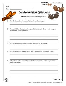 The People Could Fly Comprehension Questions Worksheet Part 1