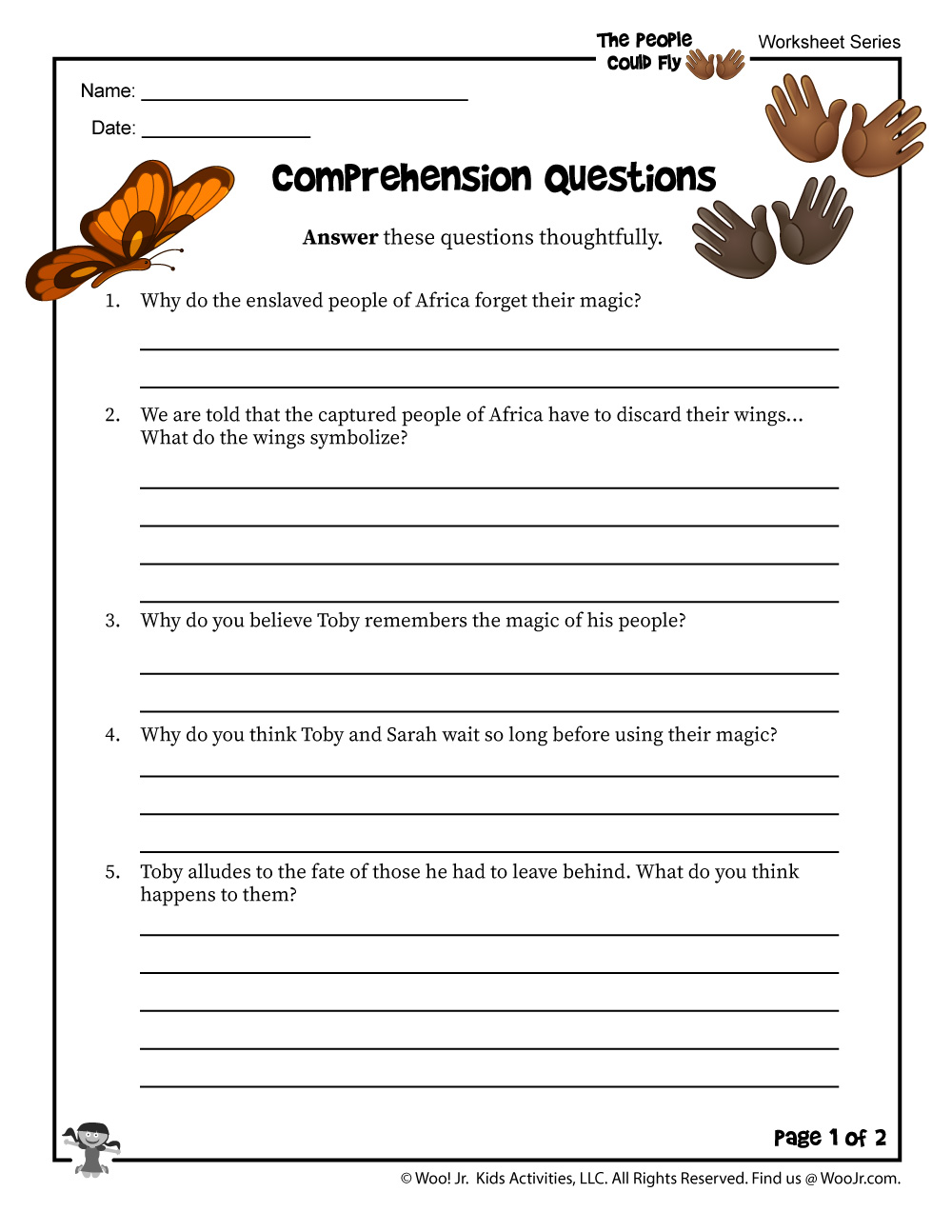- The People Could Fly Comprehension Questions Worksheet Part 1