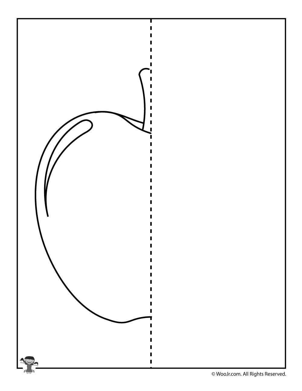 Draw And Apple Symmetry Worksheet Woo Jr Kids Activities