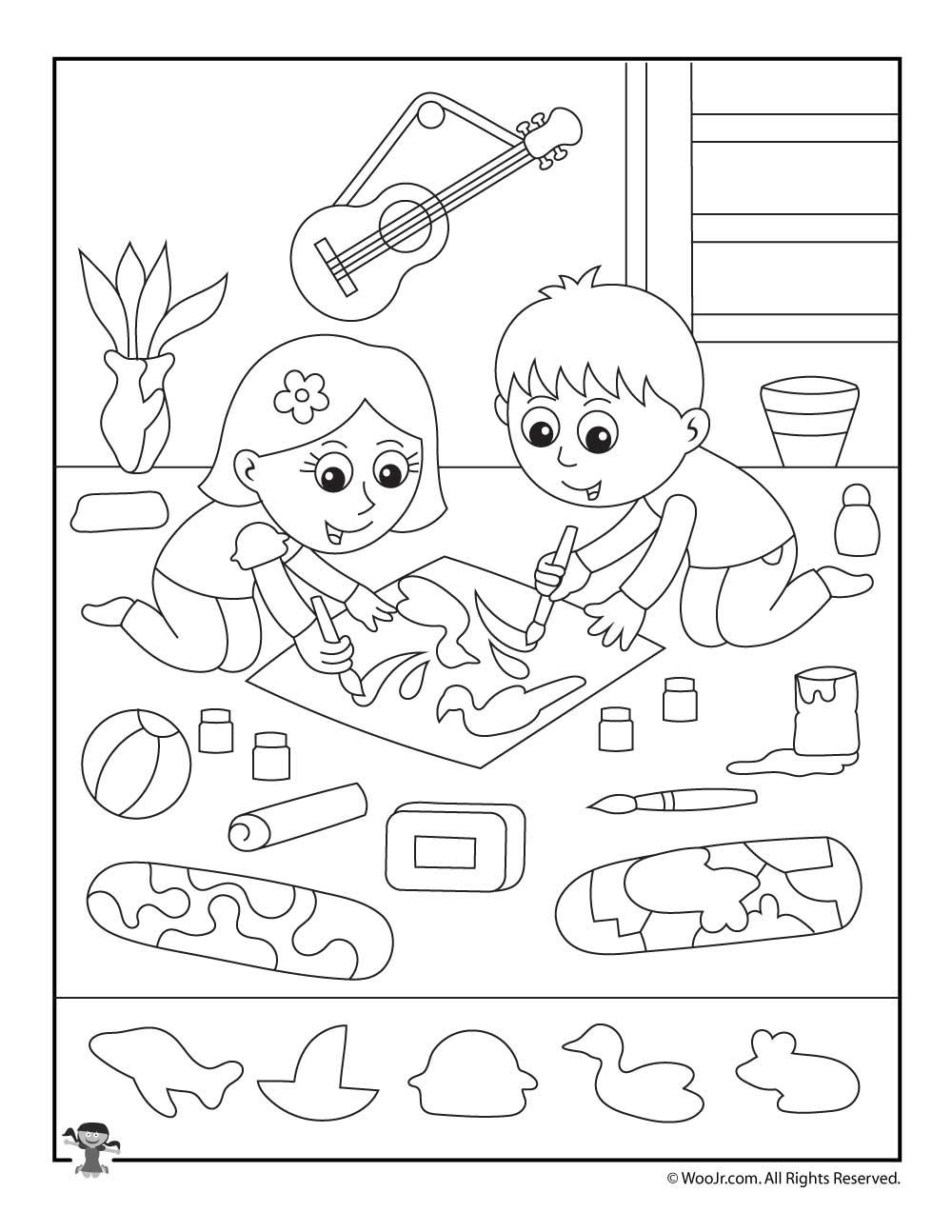 Art Class Hidden Objects Printable Woo Jr Kids Activities