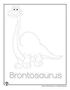 Dinosaur Brontosaurus Tracing Coloring Page