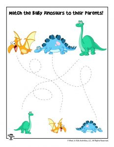 Easy Dinosaur Tracing Matching Worksheet