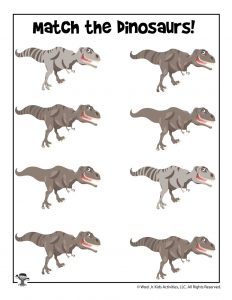 Dinosaur Matching Activity Worksheet