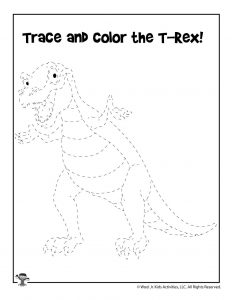 T Rex Dinosaur Tracing Page