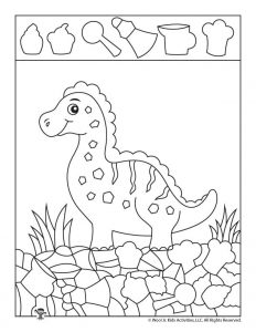 Easy Cute Dinosaur Hidden Picture Page