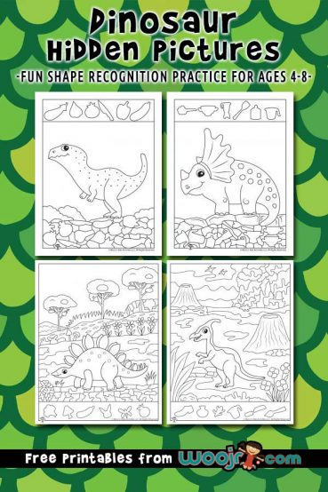 Dinosaur Hidden Pictures Activity Printables