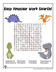 Easy Dinosaur Word Search for Kids - ANSWER KEY