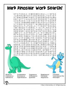 Dinosaur Word Search - Hard