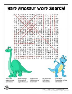 Dinosaur Word Search - Hard ANSWER KEY