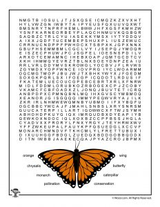 Monarch Butterfly Word Search for Kids