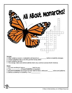 All About Monarchs Crossword for Kids