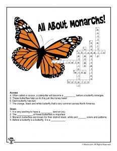 All About Monarchs Crossword for Kids - ANSWER KEY