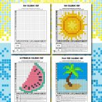 Summer Mystery Pictures Pixel Grid Coloring Pages