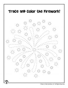 Fireworks July 4th Tracing Worksheet