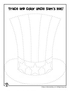 Uncle Sam Hat Tracing Drawing Activity