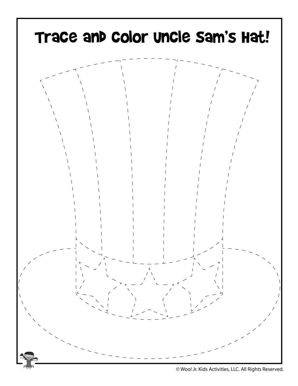 Uncle Sam Hat Tracing Drawing Activity | Woo! Jr  Kids