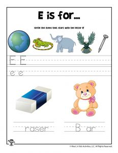 Letter E Phonics Recognition Worksheet