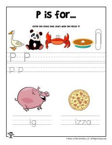 Letter P Phonics Recognition Worksheet