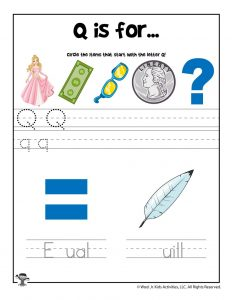 Letter Q Phonics Recognition Worksheet