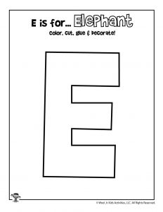 E is for Elephant Coloring Craft Activity