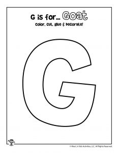G is for Goat Coloring Craft Activity