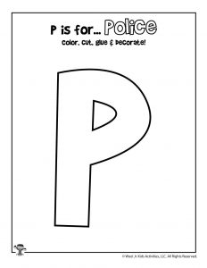 P is for Police Coloring Craft Activity
