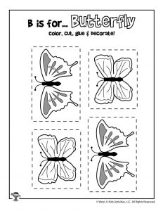 B is for Butterfly Coloring Craft Activity