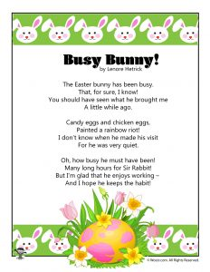 Busy Bunny Printable Poem